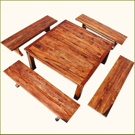 Rustic Square Dining Table For 8 Rustic Square Santa Dining Table With 4 Benches For 8 Traditional Dining Sets