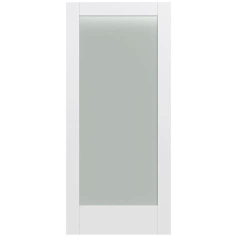 White Glass Panel Interior Doors Jeld Wen 36 In X 80 In Moda Primed White 1 Lite Solid Wood Interior Door Slab With