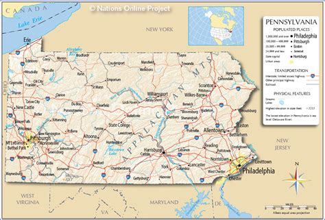 pennsylvania in usa map reference map of pennsylvania usa nations project