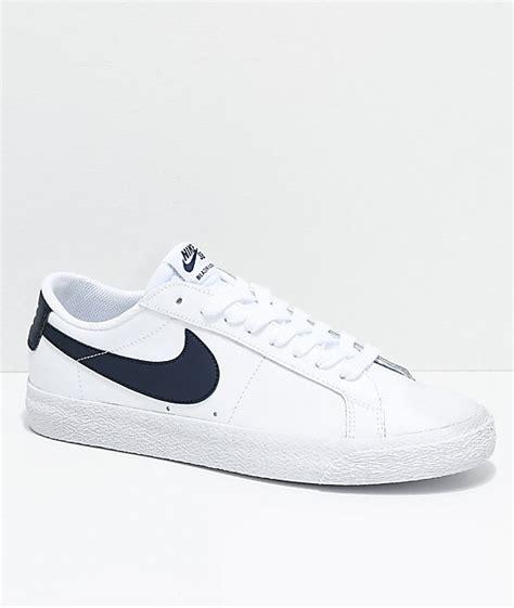Nike Sb Blazer Navy White nike sb blazer zoom low white obsidian leather skate