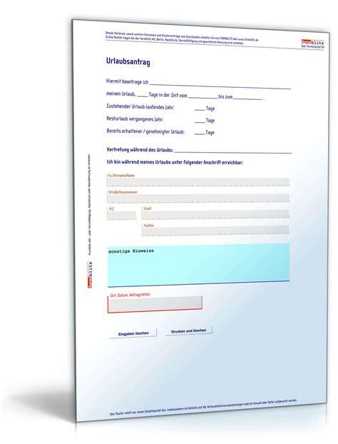 Muster Urlaubsantrag urlaubsantrag formular zum
