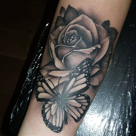 butterfly and rose tattoos black and grey butterfly 43 beautiful forearm