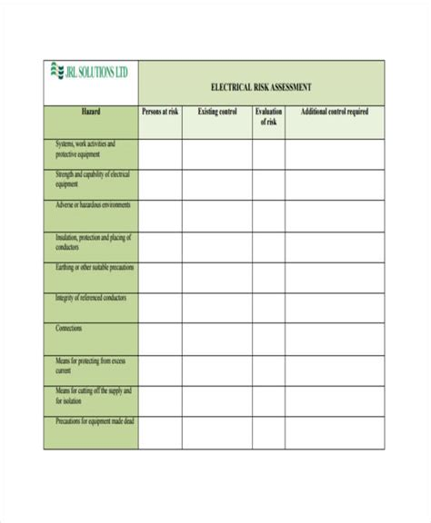electricians risk assessment template 31 risk assessment templates in pdf free premium
