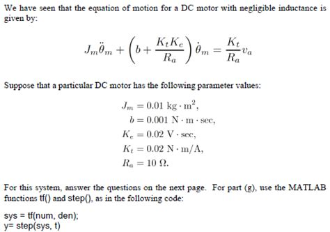 inductance bldc we seen that the equation of motion for a dc chegg