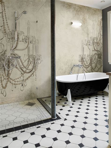 wallpapered bathrooms ideas wall deco