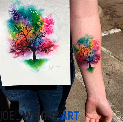 painting tattoos joel wright watercolor artist galaxy