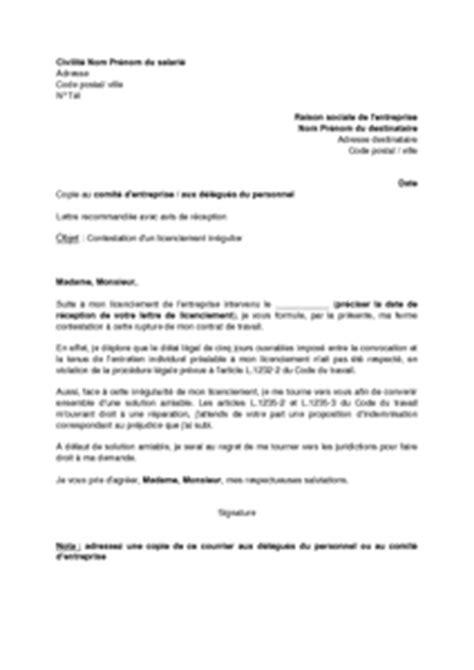 Exemple De Lettre De Demande D Entretien Lettre De Contestation D Un Licenciement Irr 233 Gulier Et Demande D Indemnisation Absence D Un