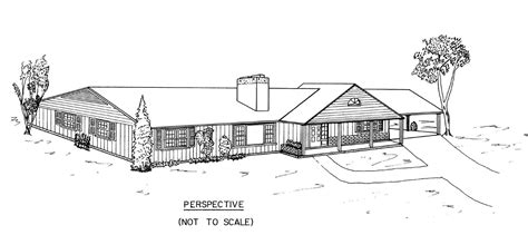 House Perspective With Floor Plan by Free 3 Bedroom Ranch House Plans With Carport
