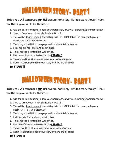 halloween storytime halloween story instructions