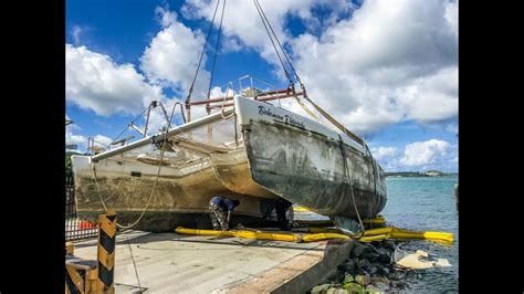 lagoon catamaran in storm buying a hurricane salvaged boat crushed dreams and