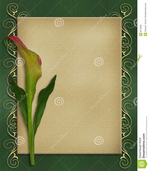 Calla Lily Invitation Card Template Stock Illustration Illustration Of Green Clip 8715092 Invitation Card Template