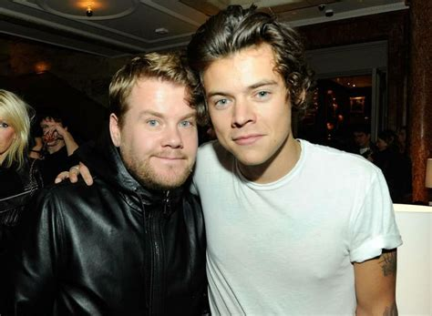 harry styles new tattoo james corden james corden and harry styles the premiere of the london
