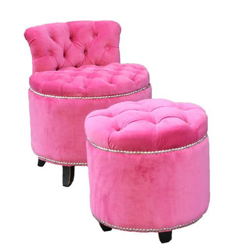 Pink Stool Chair by Midtown Closet Pink Tufted Vanity Chair Stool