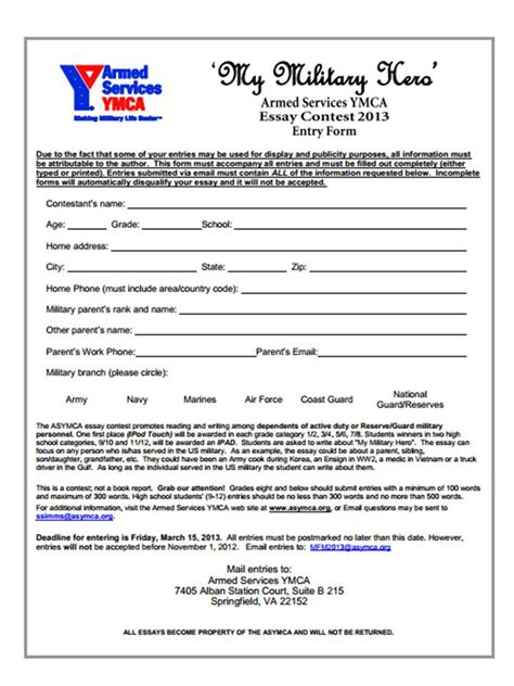 Scholarship Letter To Ymca 2013 Armed Forces Ymca Essay Contest Usmc