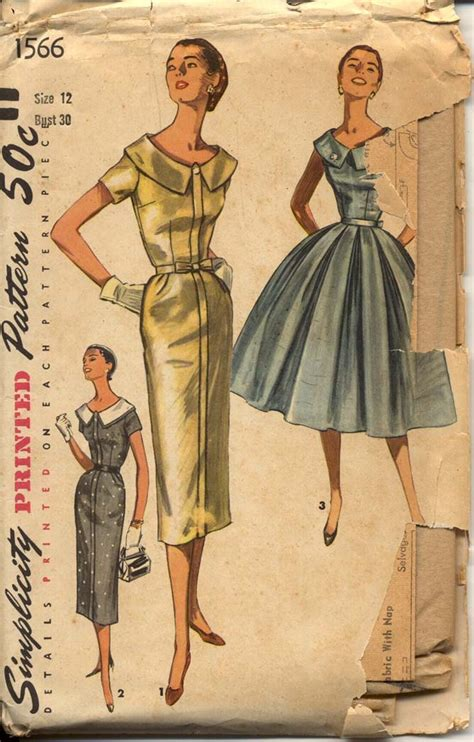 vintage patterns 1950s a 1849940940 1950s dress pattern simplicity 1566 bust 30 evening sheath full skirt wide portrait collar day