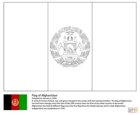 flag of afghanistan coloring page free printable