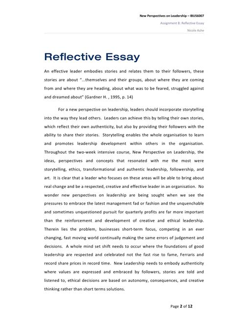 Reflective Essay On Writing by Reflective Essay On New Perspectives On Leadership