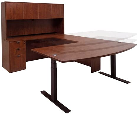 Electric Lift Adjustable Height Cherry U Desk W Hutch Electric Height Adjustable Computer Desk