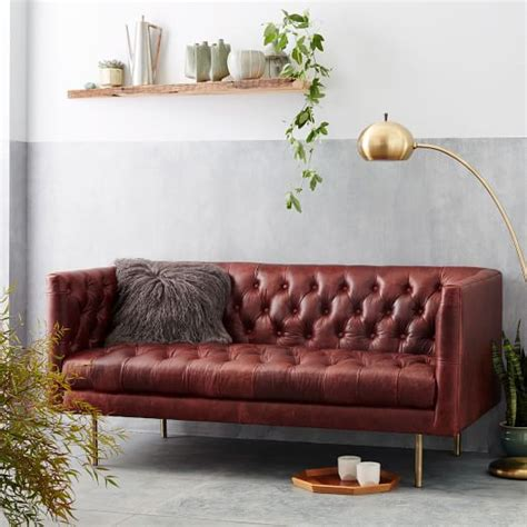 loveseat chesterfield modern chesterfield leather loveseat 63 quot west elm