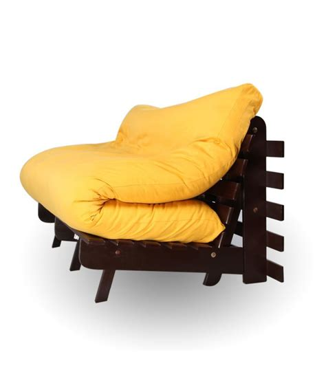 arra futon sofa bed with mattress yellow - Futon India