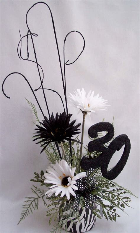 Centerpieces   30th birthday, black and white centerpiece