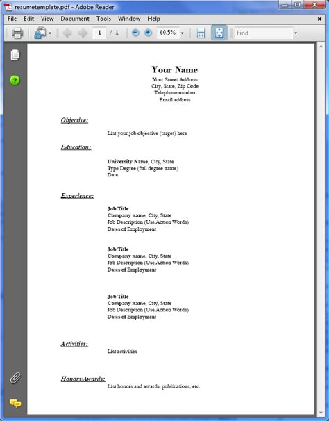 Resume Exle For Pdf Pdf Resume Format Images