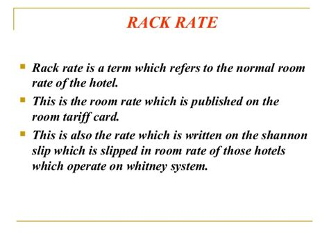 Rack Rate Definition define rack rate cosmecol