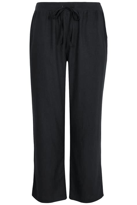 Wide Leg The Anti by Womens Linen Mix Pull On Wide Leg Trousers With Pockets