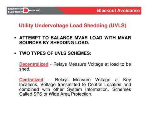 blackout avoidance undervoltage load shedding
