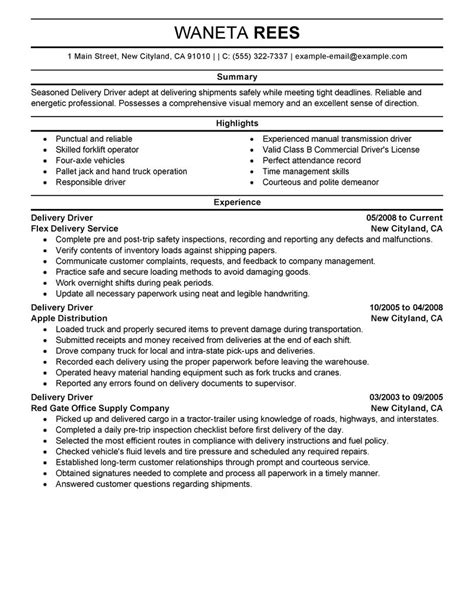 best delivery driver resume exle livecareer