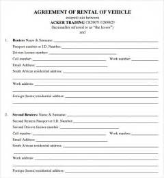 vehicle rental agreement template free car lease contract template sles vlcpeque