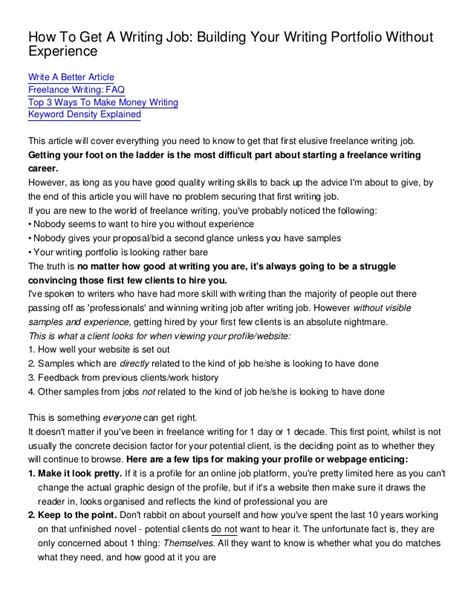 How To Write A Portfolio Essay by How To Get A Writing Building Your Writing Portfolio Without Exp