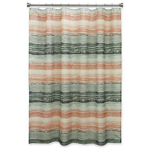 Coral And Grey Curtains Bacova Portico Stripe Shower Curtain In Coral Grey Bed Bath Beyond