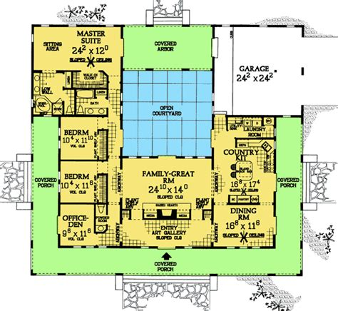 Home Plans With Courtyard Plan W81383w Central Courtyard Home Plan E