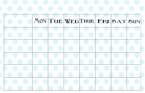 printable calendar chart cute blank charts calendar template 2016