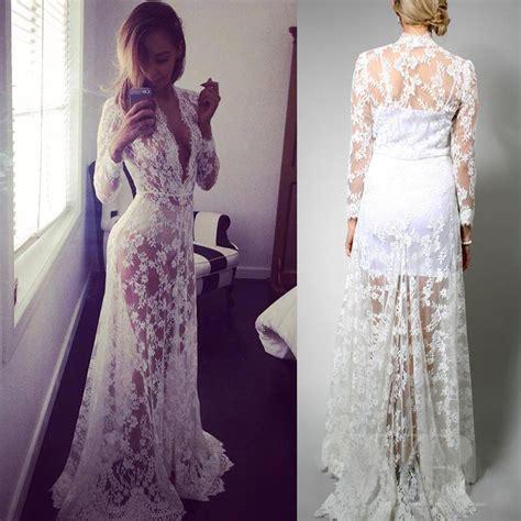 white lace boho maxi dress 2015 hippie gypsy boho white lace caftan v neck long