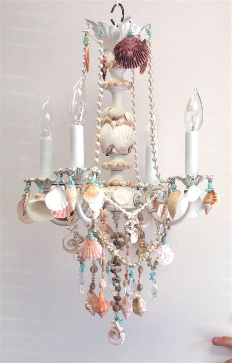 Seashell Chandelier Diy And Shell Chandelier Embellished Witih Seashells Cottage Style Home Decor