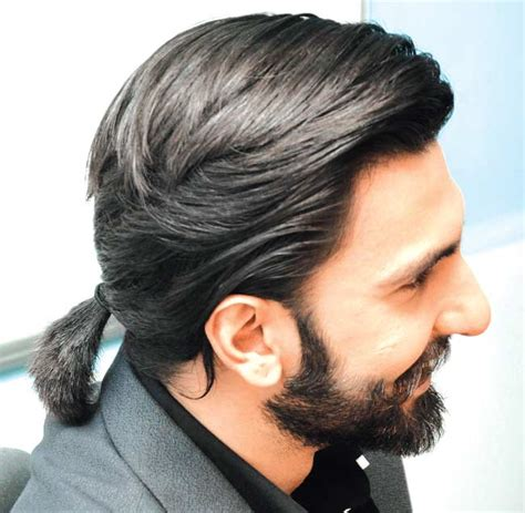 mens ponytails in a suit ranveer singh hairstyles 20 best hairstyles of ranveer singh