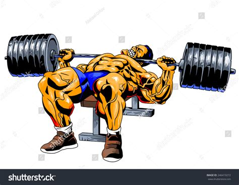 cartoon bench press bodybuilderbench pressillustrationcolordrawingisolated on