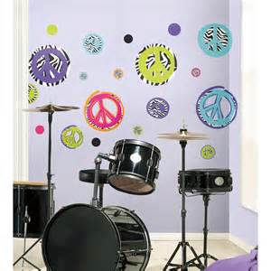 wall stickers for teenage rooms zebra zebra print peace signs wall decals peel and stick