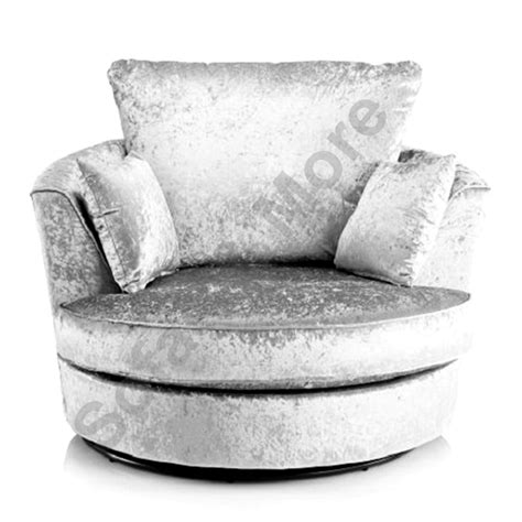 Large Swivel Round Cuddle Chair Crushed Velvet Fabric Black Swivel Cuddle Chair