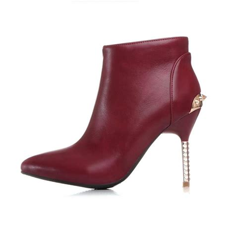 cheap winter pointed toe zipper design rivets decorated