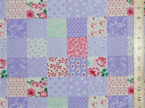 Patchwork Print Fabric - printed patchwork cotton fabric lilac