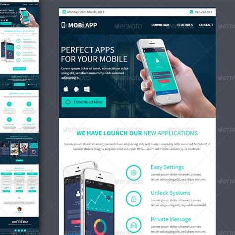 Mobile Apps Multipurpose E Newsletter Template By Kalanidhithemes Graphicriver Mobile Newsletter Template