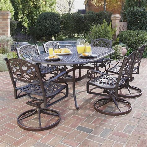 patio dining furniture sets shop home styles biscayne 7 bronze metal frame patio dining set at lowes