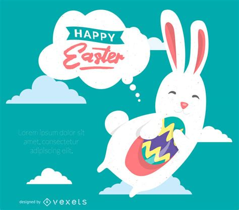 printable happy easter poster happy easter poster with bunny illustration vector download