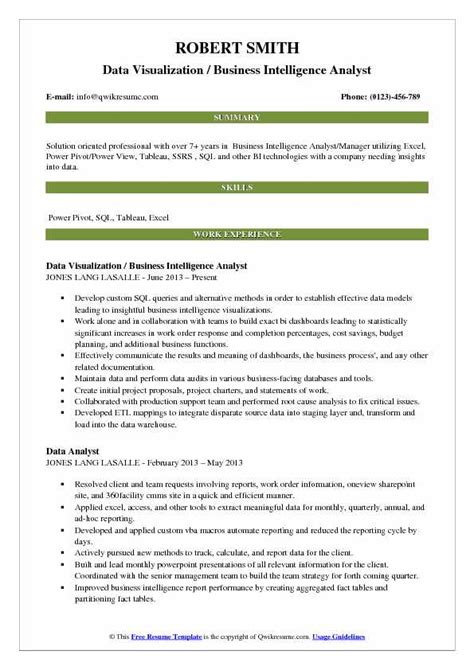 Usf Mba Data Visualization Description business intelligence analyst resume sles qwikresume