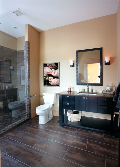 dark wood tile bathroom dark tile flooring bathroom contemporary with bathroom