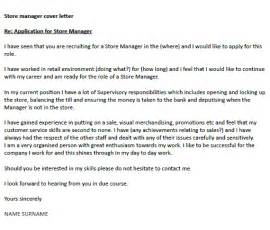 Cover Letter For Store Manager by Store Manager Cover Letter Exle Icover Org Uk