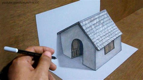3d room drawing trick drawing 3d tiny house on paper